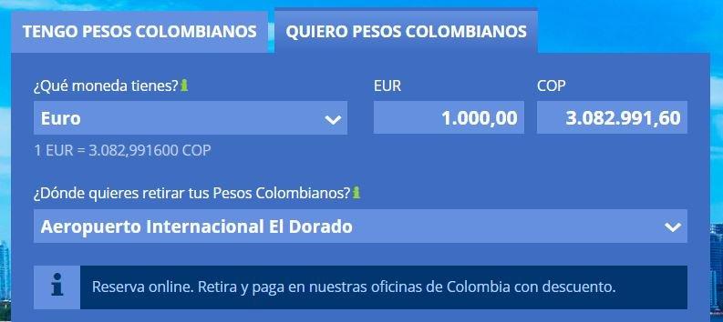 1000 euros a pesos colombianos