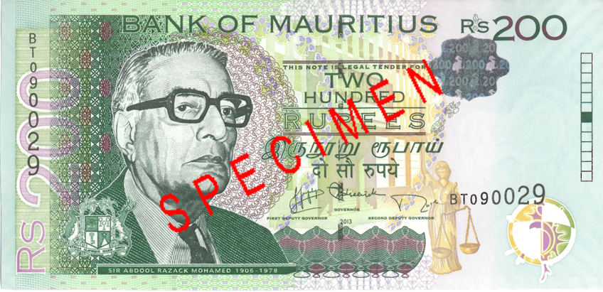 200 Mauritius rupees banknotes Rs200 obverse