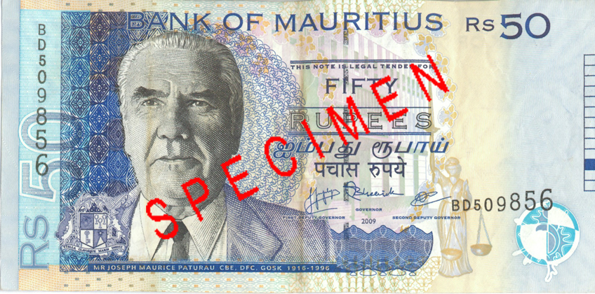 50 Mauritius rupees banknotes Rs50 obverse