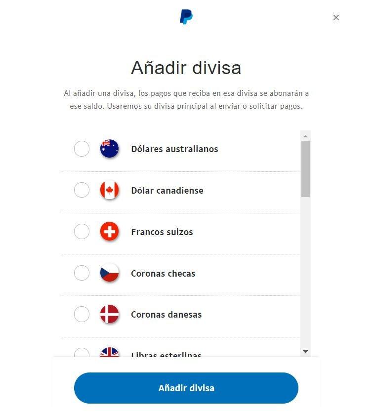 Añadir divisa PayPal