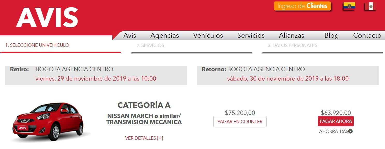 AVIS Colombia precio alquiler de coche