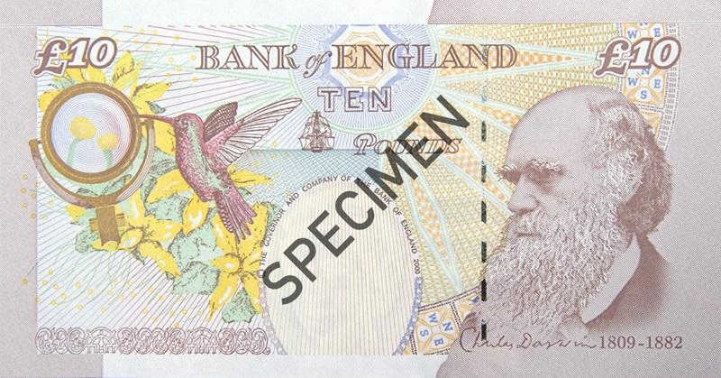 Antiguo billete de 10 libras Charles Darwin