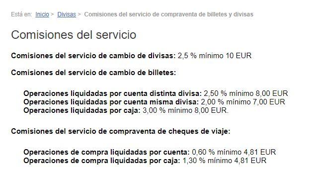 Banco Sabadell comisiones cambio divisas