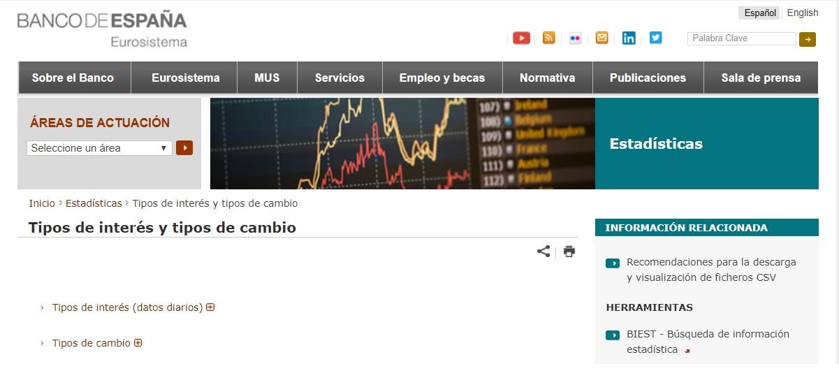 Banco de España tipos de interés y tipos de cambio hoy