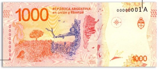 Billete 1000 pesos argentinos 1000 ARS reverso