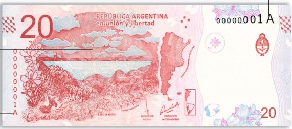 Billete 20 pesos argentinos 20 ARS reverso