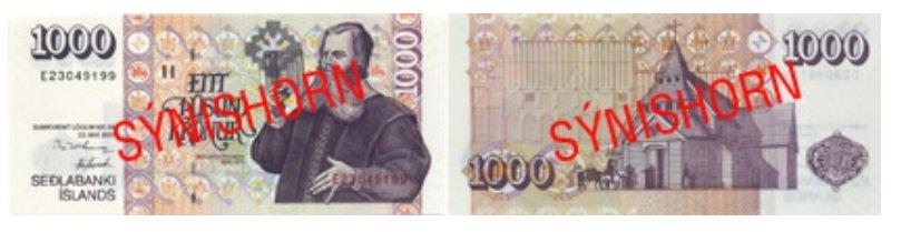 Billete de 1 000 ISK 2019