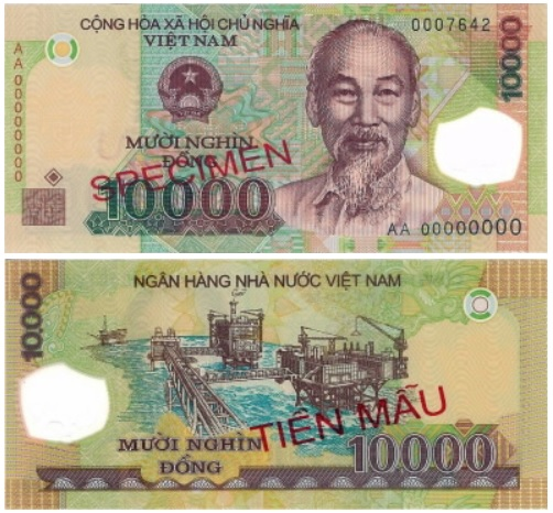 Billete de 10 000 dongs vietnamitas VND