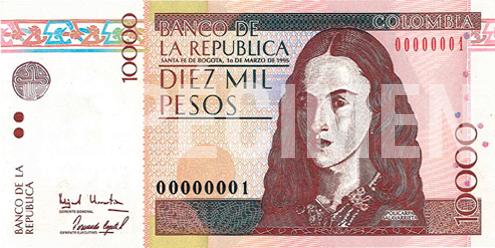 Billete de 10 000 pesos colombianos 1995