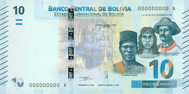 Billete de 10 bolivianos anverso