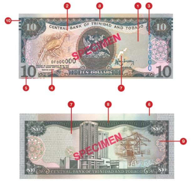 Billete de 10 dólares trinitenses TTD