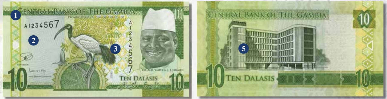 Billete de 10 dalasis de Gambia