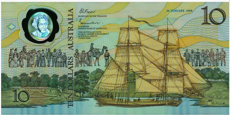 Billete de 10 dólares australianos 1988