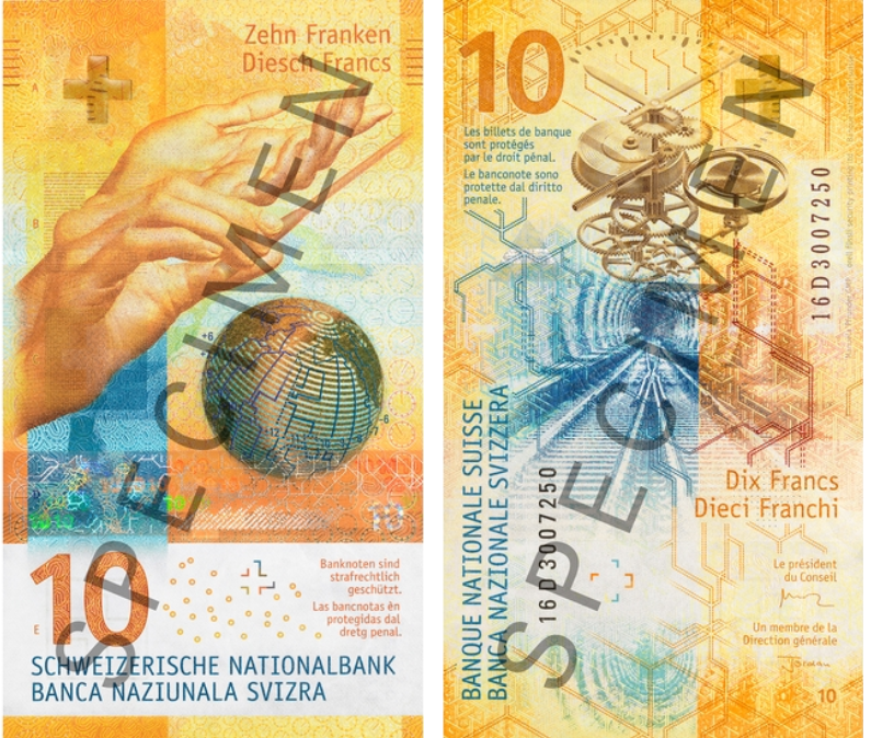 Billete de 10 francos suizos vertical