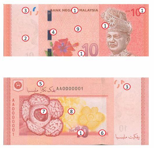Billete de 10 ringgit malayos RM10