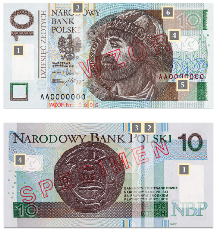 Billete de 10 zloty PLN (2014)con referencias a las marcas de seguridad.