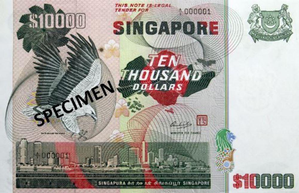 Billete de 10.000 SGD serie pajaros