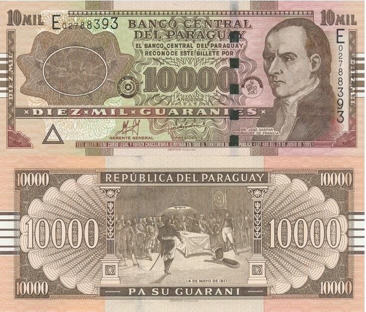 Billete de 10.000 guaraníes de Paraguay