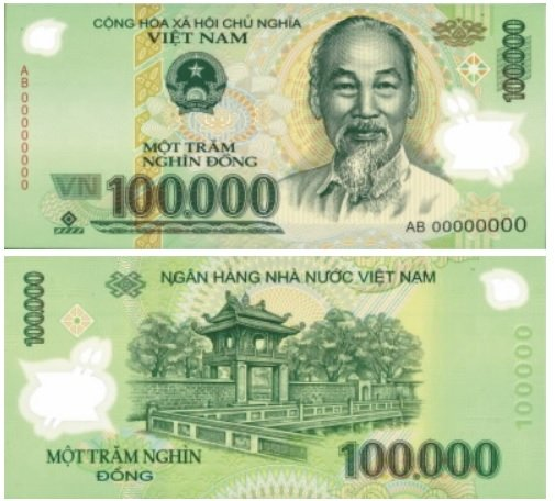Billete de 100 000 dongs vietnamitas VND