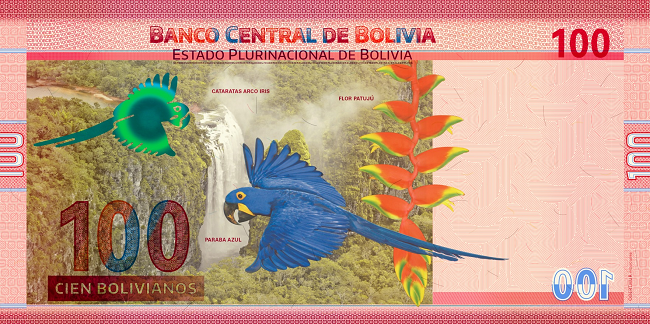 Billete de 100 bolivianos reverso