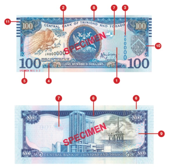 Billete de 100 dólares trinitenses TTD