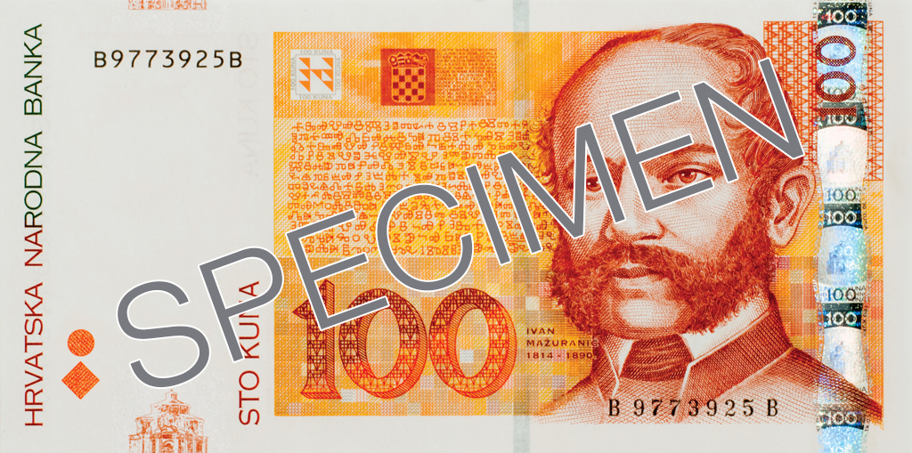 Billete de 100 kunas 100 HRK anverso