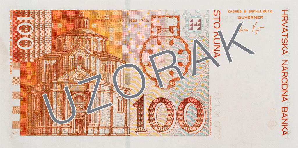Billete de 100 kunas 100 HRK reverso