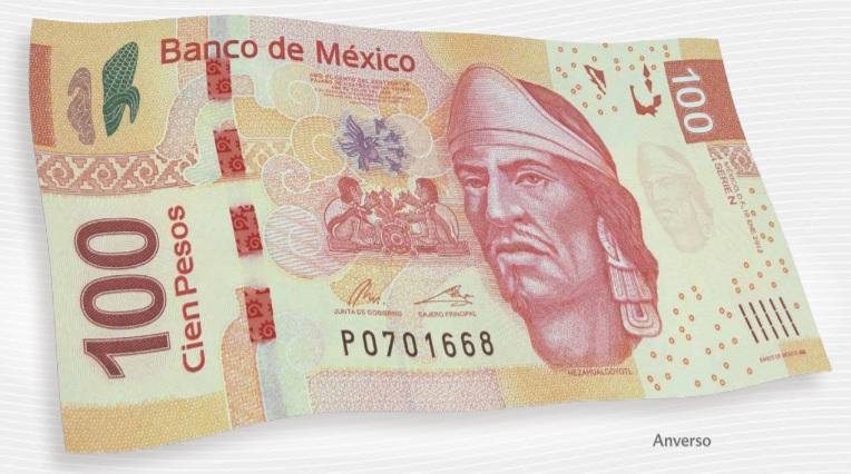 Billete de 100 pesos mexicanos 100 MXN anverso