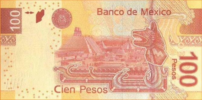 Billete de 100 pesos mexicanos 100 MXN reverso