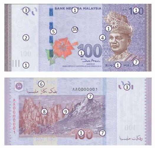 Billete de 100 ringgit malayos RM100