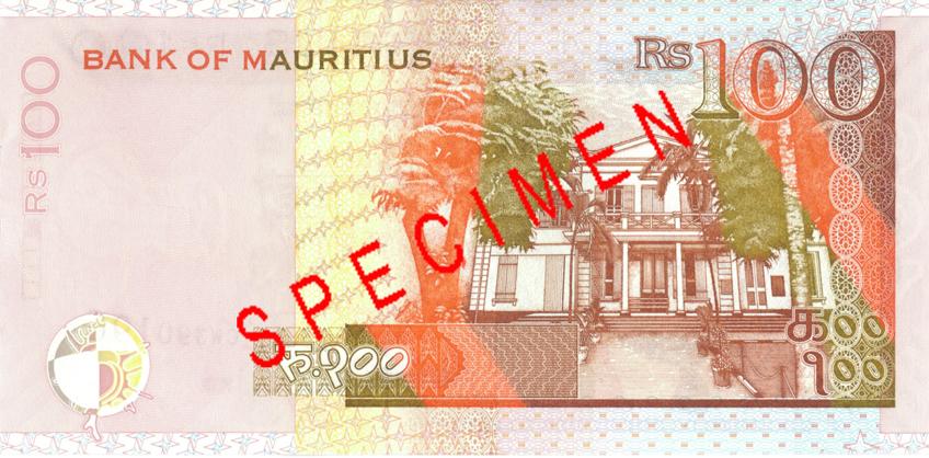 Billete de 100 rupias de Mauricio Rs100 reverso