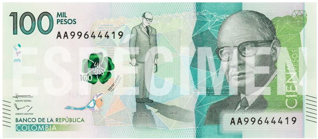 Billete de 100.000 pesos colombianos en circulación 2019
