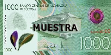 Billete de 1000 Córdobas 2019 anverso