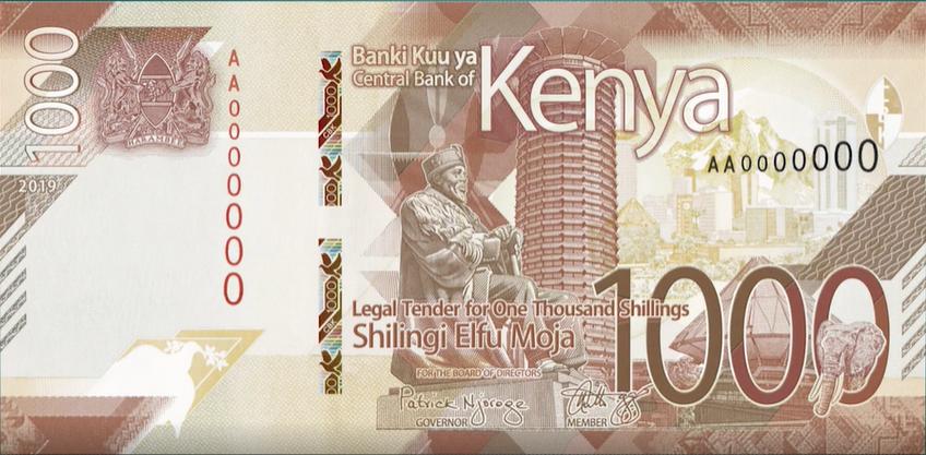 Billete de 1000 chelines kenianos anverso