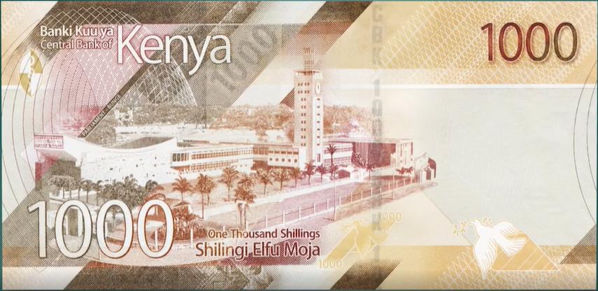 Billete de 1000 chelines kenianos reverso