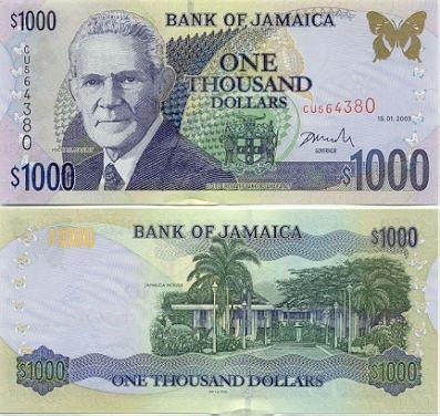 Billete de 1000 dólares de Jamaica