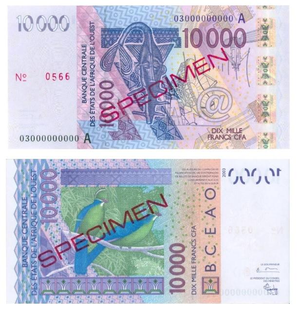 Billete de 1000 francos CFA