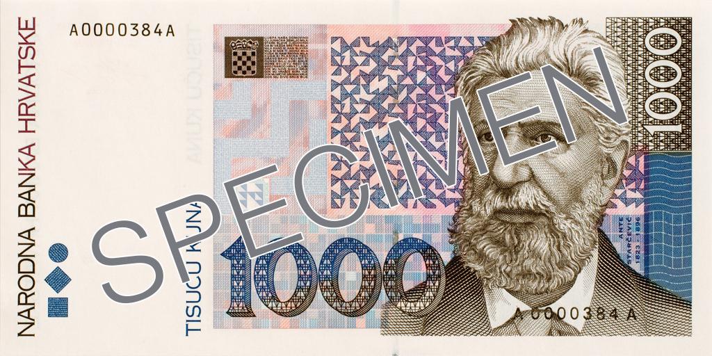 Billete de 1000 kunas 1000 HRK anverso