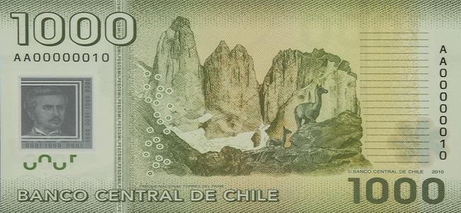 Billete de 1000 pesos chilenos reverso