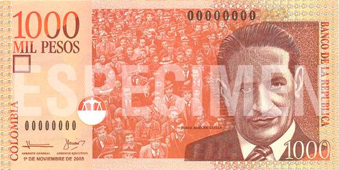 Billete de 1000 pesos colombianos 2006