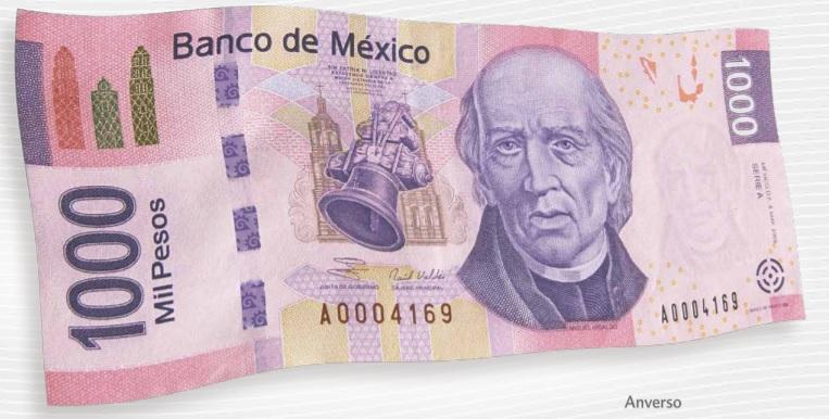 Billete de 1000 pesos mexicanos 1000 MXN anverso