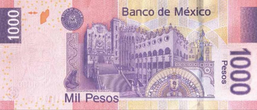 Billete de 1000 pesos mexicanos 1000 MXN reverso
