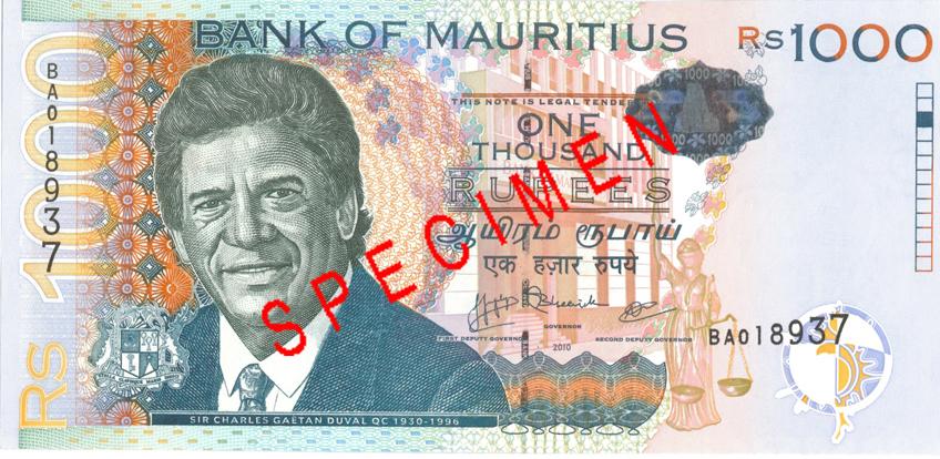 Billete de 1000 rupias de Mauricio Rs1000 anverso