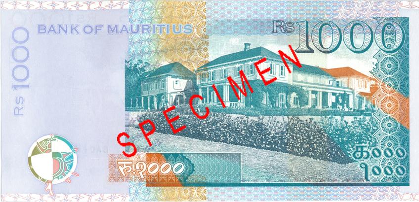 Billete de 1000 rupias de Mauricio Rs1000 reverso