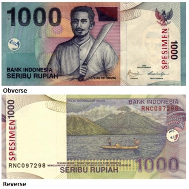 Billete de 1000 rupias indonesias IDR