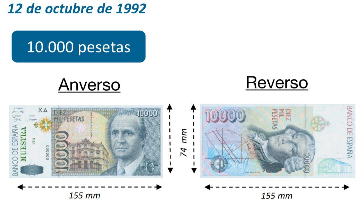 Billete de 10000 pesetas octubre 1992
