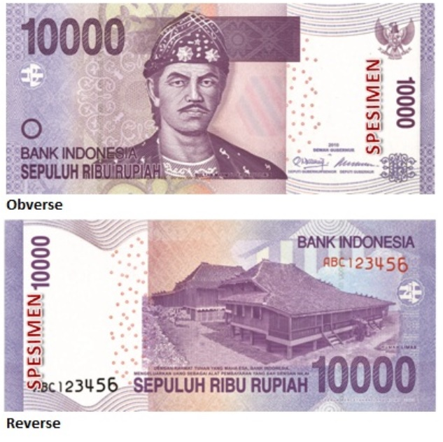 Billete de 10000 rupias indonesias IDR