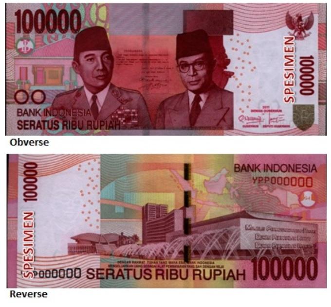 Billete de 100000 rupias indonesias IDR