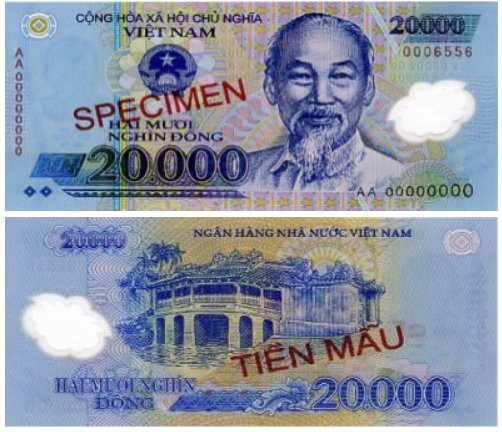 Billete de 20 000 dongs vietnamitas VND