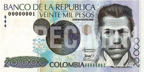 Billete de 20 000 pesos colombianos 1996